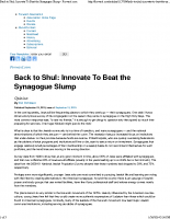 Back to Shul_ Innovate To Beat the Synagogue Slump – Forward