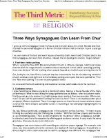 Three Ways Synagogues Can Learn From Churches