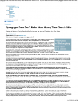Synagogue Dues Don't Raise More than Church Gifts